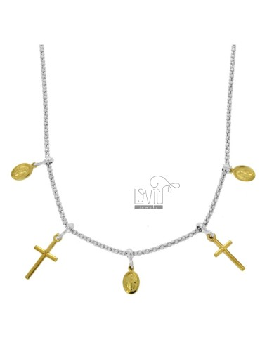 POP CORN NECKLACE WITH MADONNINE AND CROSS PENDANTS IN SILVER RHODIUM AND GOLDEN TIT 925 CM 45
