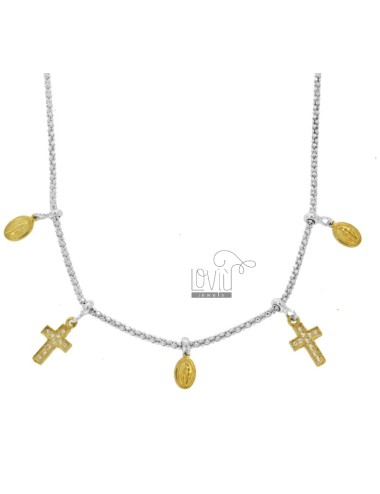 POP CORN NECKLACE WITH MADONNINE AND CROSS PENDANTS IN SILVER RHODIUM AND GOLDEN TIT 925 AND ZIRCONIA CM 45