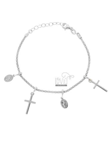 BRACELET POP CORN WITH MADONNINE AND CROSSES PENDANTS IN SILVER RHODIUM TIT 925 CM 18-20