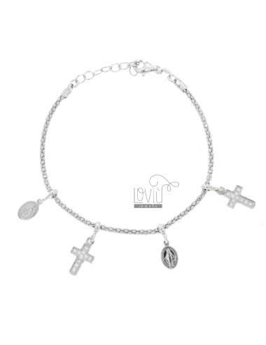 BRACELET POP CORN WITH MADONNINE AND CROSS PENDANTS IN SILVER RHODIUM TIT 925 AND ZIRCONIA CM 18-20