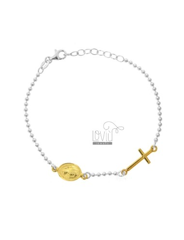 BRACELET TYPE ROSARY WITH SAINT ANTHONY MARY CLARET IN SILVER RHODIUM AND GOLDEN TIT 925 CM 18-20