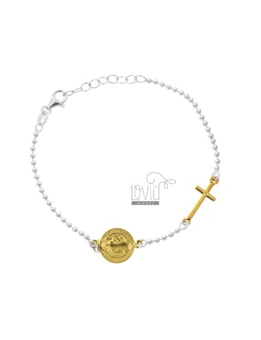 BRACELET TYPE ROSARY WITH SANT ANASTASIO SILVER RHODIUM AND GOLDEN TIT 925 CM 18-20
