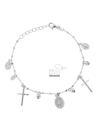 BRACELET CABLE WITH BALLS, CROSS AND MADONNINE PENDANTS IN SILVER RHODIUM TIT 925 AND ZIRCONIA CM 18-20
