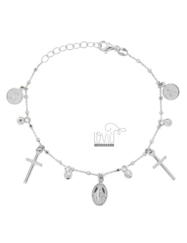 BRACELET CABLE WITH BALLS, CROSSES, ANGELS AND MADONNINA PENDANTS IN SILVER RHODIUM TIT 925 CM 18