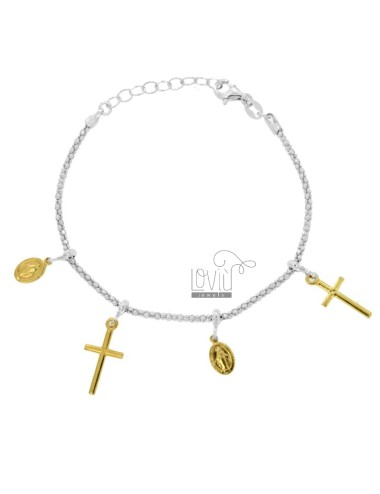 BRACELET POP CORN WITH MADONNINE AND CROSS PENDANTS IN SILVER RHODIUM AND GOLDEN TIT 925 CM 18-20