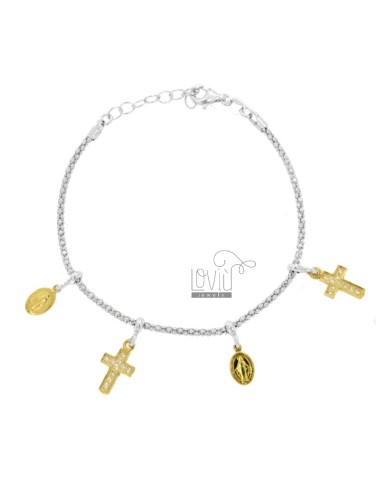 BRACELET POP CORN WITH MADONNINE AND CROSS PENDANTS IN SILVER RHODIUM AND GOLDEN TIT 925 AND ZIRCONIA CM 18-20