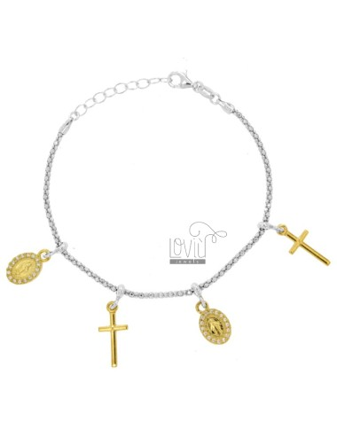 BRACELET POP CORN WITH MADONNINE AND CROSS PENDANTS IN SILVER RHODIUM AND GOLDEN TIT 925 AND ZIRCONIA CM 18