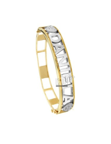 RIGID CUSTOM BRACELET WITH LUCIC LETTERS IN SILVER RHODIUM AND GOLDEN TIT 925 WITH ZIRCONATE DETAILS