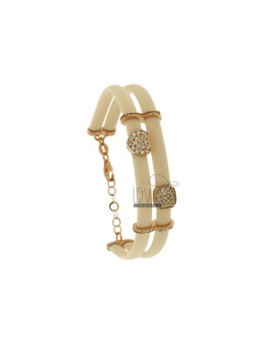 BRACELET IN CAUCCIU 'IVORY WITH SQUARE AND HEART IN SILVER ROSE TIT 925 AND ZIRCONIA