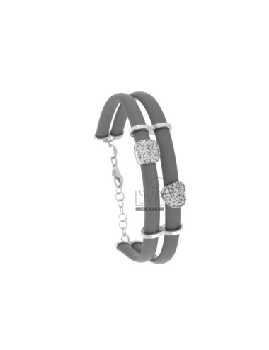 BRACELET IN CAUCCIU 'GRAY WITH SQUARE AND HEART IN SILVER RHODIUM TIT 925 AND ZIRCONIA