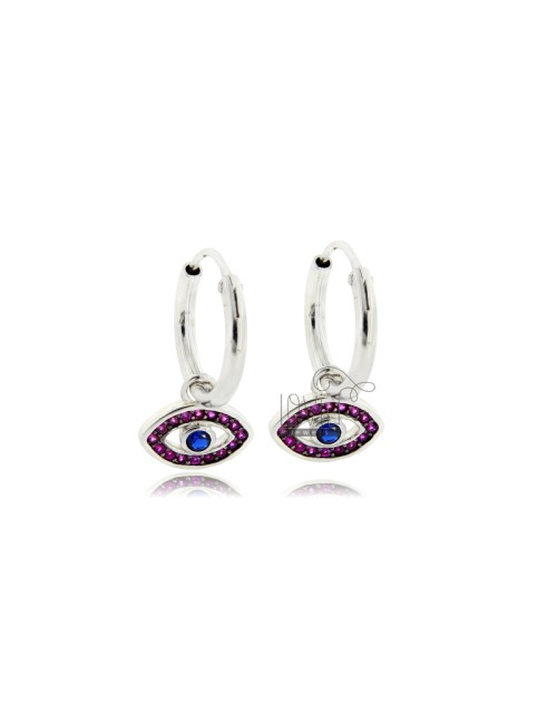 EARRINGS A CIRCLE DIAMETER 10 MM WITH EYE PENDANT IN SILVER RHODIUM TIT 925 ‰ AND RED ZIRCONIA