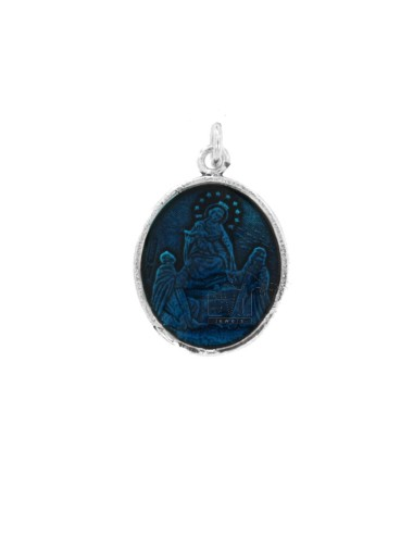 PENDANT OVAL MADONNA DI POMPEI IN BRUNITO SILVER TIT 925 AND POLISH TURQUOISE