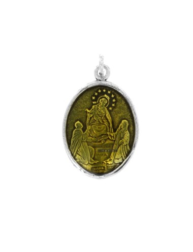 PENDANT OVAL MADONNA DI POMPEI IN BRUNITO SILVER TIT 925 AND YELLOW ENAMEL