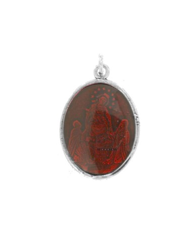 PENDANT OVAL MADONNA DI POMPEI IN BRUNITO SILVER TIT 925 AND RED ENAMEL