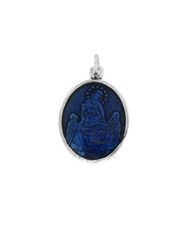 PENDANT OVAL MADONNA DI POMPEI IN BRUNITO SILVER TIT 925 AND BLUE ENAMEL