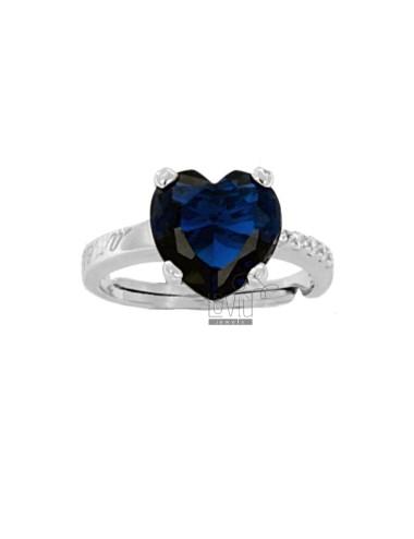 Ring heart in rhodium ag...