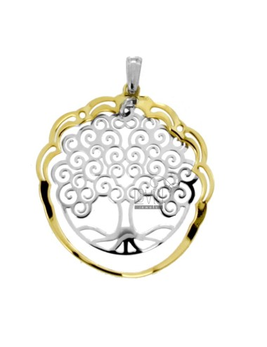 PENDANT TREE OF LIFE 30 MM IN SILVER RHODIUM AND GOLDEN TIT 925 ‰