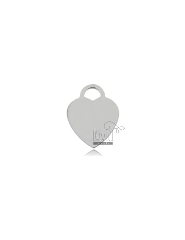 HEART MM 19X15 MM THICKNESS 1.1 IN SILVER RHODIUM TIT 925