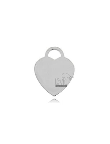 HEART MM 24X19 MM THICKNESS 1.1 IN SILVER RHODIUM TIT 925