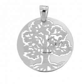 PENDANT TREE OF LIFE 30 MM SILVER GLOSS AND SATIN RHODIUM TIT 925 ‰