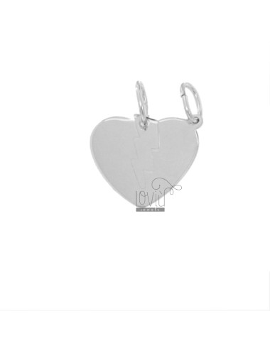 PENDANT HEART WITH DIVIDED LIGHT 19X20 MM IN SILVER RHODIUM TIT 925