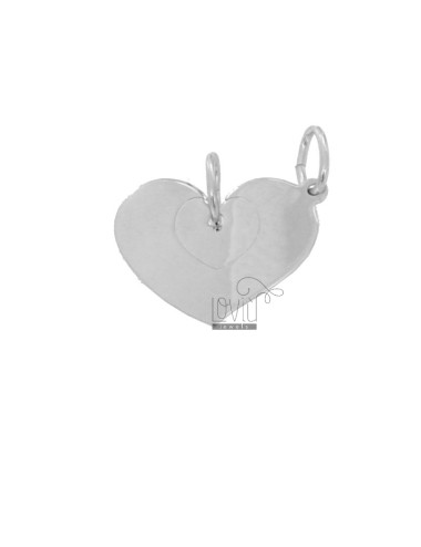 PENDANT HEART WITH DIVIDED HEART 22X17 MM SILVER RHODIUM TIT 925