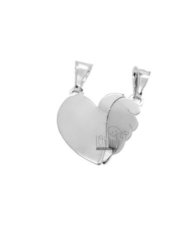 PENDANT HEART WITH DIVIDED ALA MM 19X20 SILVER RHODIUM TIT 925
