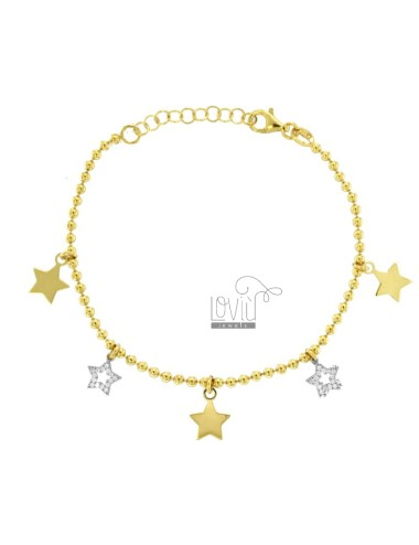 BRACELET BALLS WITH STARS PENDANTS IN SILVER GOLDEN TIT 925 AND ZIRCONIA CM 18-20