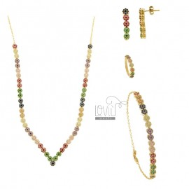 PARURE 4 PIECES FLOWERS WITH PAVE 'OF ZIRCONIA RAINBOW IN SILVER GOLDEN TIT 925 ‰