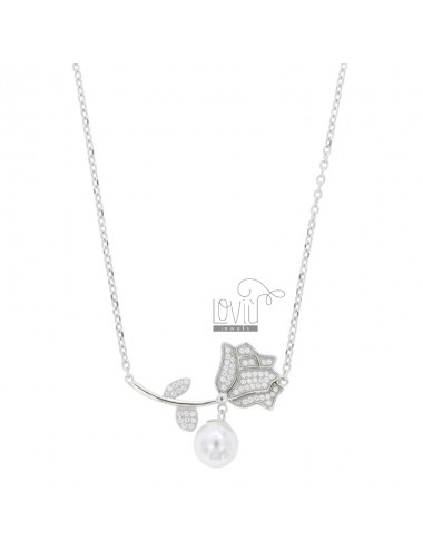 ROLO NECKLACE WITH ROSE AND...