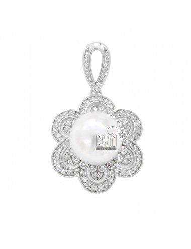 PENDANT FLOWER WITH PEARL IN SILVER RHODIUM TIT 925 AND ZIRCONIA