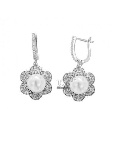 Blumen-Ohrringe mit Perle...