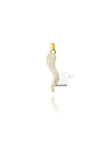 HORN CHARM MM 29X8 IN SILVER SILVER TIT 925 ‰ AND WHITE ZIRCONIA