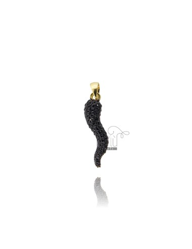 HORN PENDANT 29X8 MM SILVER SILVER TIT 925 ‰ AND BLACK ZIRCONIA
