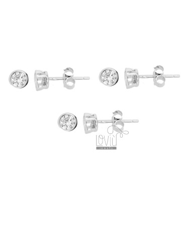 3 PAIRS EARRINGS PUNTO LUCE CIPOLLINA WITH ZIRCONE WHITE 4 MM IN RHODIUM SILVER 925 ‰