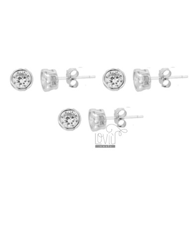 3 PAIRS EARRINGS PUNTO LUCE CIPOLLINA WITH ZIRCONE WHITE 5 MM IN RHODIUM SILVER 925 ‰