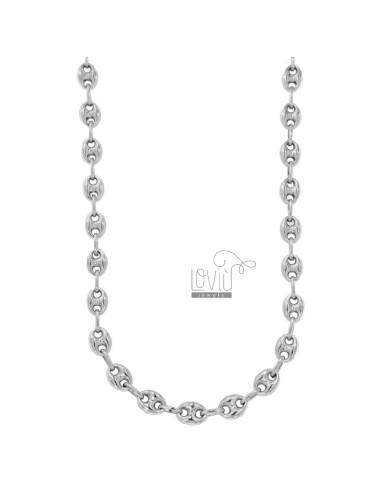 NECKLACE MESH MARINA EMPTY 10X8 MM SILVER RHODIUM TIT 925 50 CM 50
