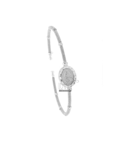 RIGID BRACELET WIRE WITH MIRACULOUS MADONNA IN RHODIUM SILVER TIT 925