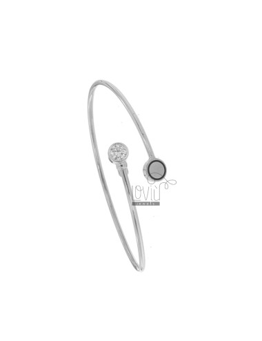 RIGID CONTRARY BRACELET WITH FINAL ROUND IN SILVER RHODIUM TIT 925 ‰ ENAMEL AND STRASS