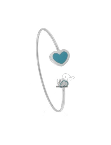 CONTRARY RIGID BRACELET WITH FINAL HEARTS IN RHODIUM SILVER TIT 925 ‰ AND ENAMEL