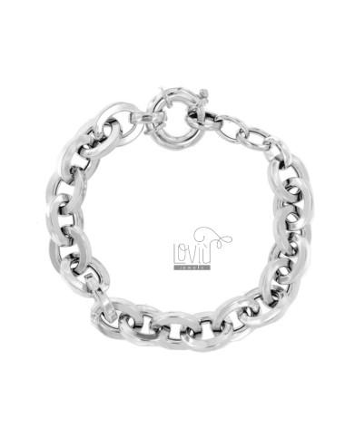 BRACELET CABLE ROD SQUARE 13 MM SILVER RHODIUM TIT 925 CM 19-21