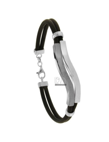 LEATHER BRACELET WITH WAVE PLATE RHODIUM AND RUTENIO SILVER TIT 925 CM 20