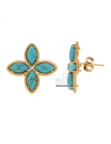 FLOWER EARRINGS WITH 4 POINTS IN LOBO SILVER ROSE TIT 925, TURQUOISE PASTA AND ZIRCONES