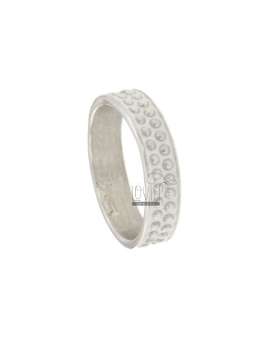 5 MM BAND RING WITH SILVER RHODIUM TIT 925 MICROSPHERES AND WHITE ENAMEL VARIOUS MEASURES