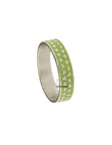 5 MM BAND RING WITH SILVER RHODIUM TITAN TITLES AND GREEN ENAMEL VARIOUS MEASURES