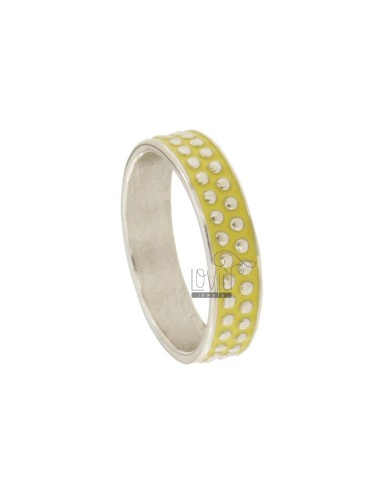 BAND RING 5 MM WITH SILVER RHODIUM TIT 925 MICROSPHERES AND YELLOW ENAMEL MISCELLANEOUS MEASURES