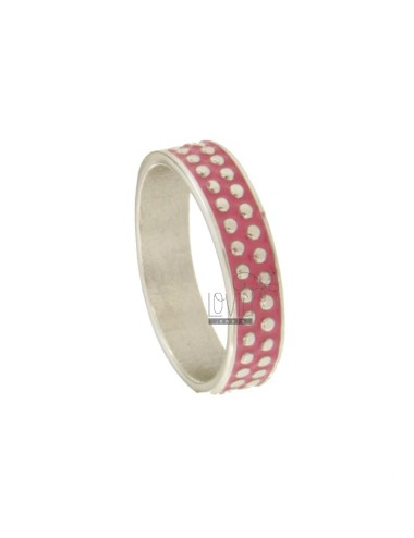5 MM BAND RING WITH SILVER RHODIUM TITAN TITLES AND FUCSIA ENAMEL VARIOUS MEASURES