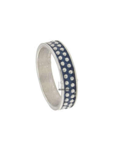 5 MM BAND RING WITH SILVER RHODIUM TIT 925 MICROSPHERES AND BLUE ENAMEL VARIOUS MEASURES
