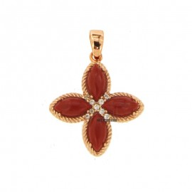 PENDANT FLOWER WITH 4 POINTS IN SILVER ROSE TIT 925, PASTA CORAL AND ZIRCONIA