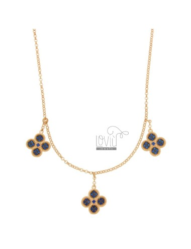 ROLO NECKLACE 'WITH 3 PENDING FLOWERS IN SILVER ROSE TIT 925, AND ZIRCONIA BLUE 45 CM